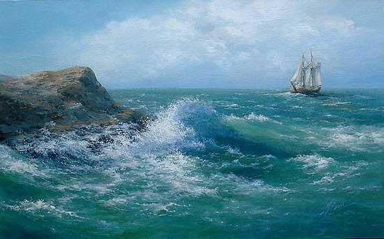 Синеее море, прибой, волна,