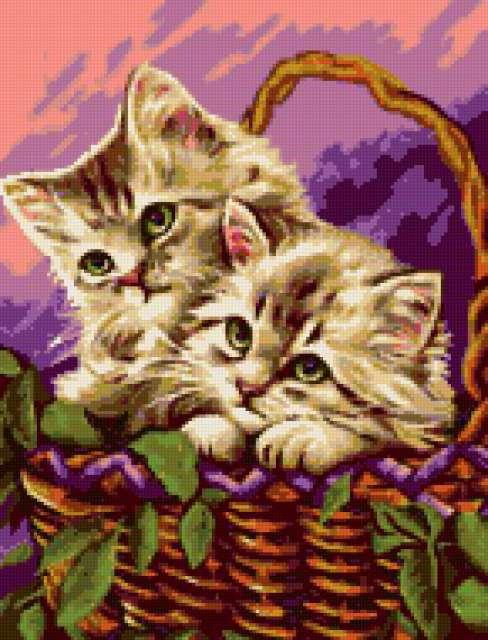 Подушка котята в корзинке,