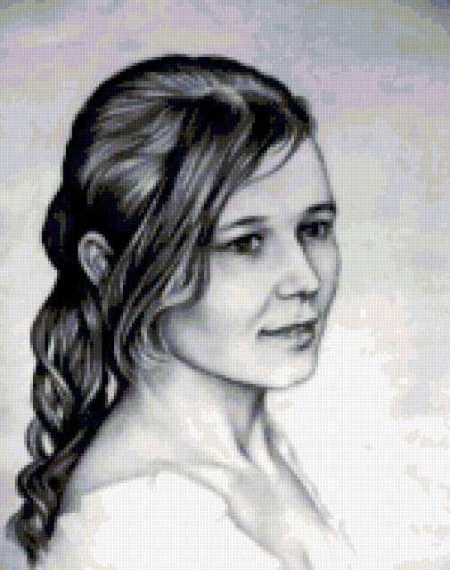 Графика.Портрет девушки