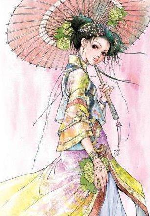 Япония. Девушка с зонтиком,