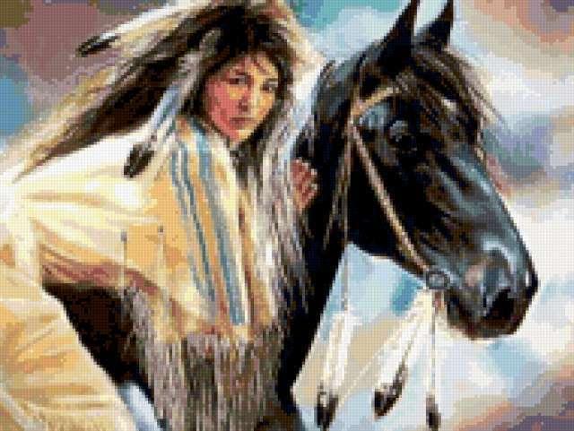 Индианка и конь, предпросмотр
