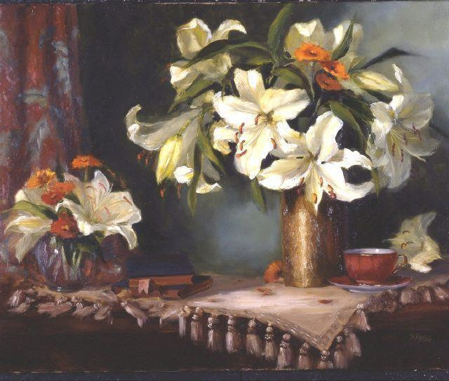 Lilies in a Brass Vase, цветы, ваза