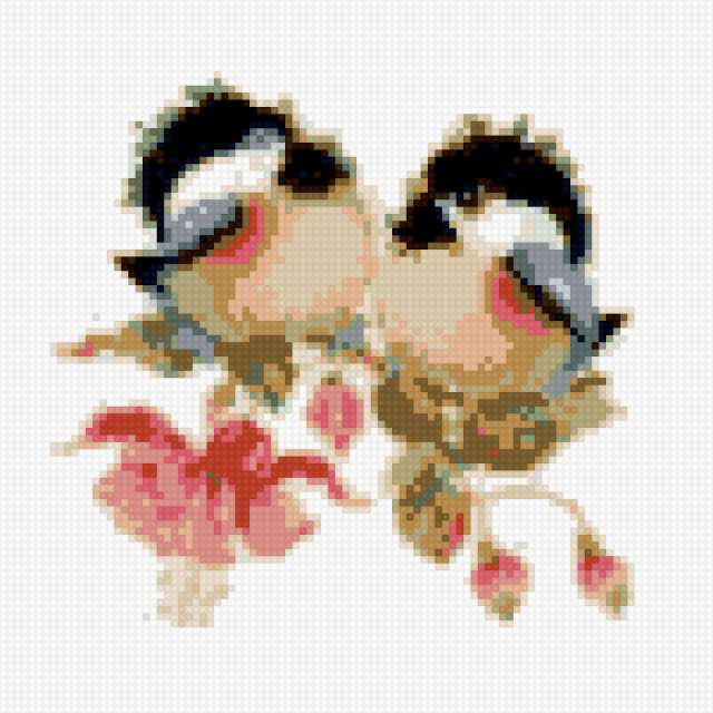 Птички на фуксии, птички,