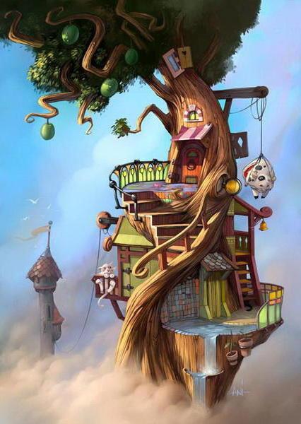 Сказочный дом, дерево, сказка