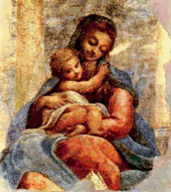 Фреска Девы Марии с младенцом,