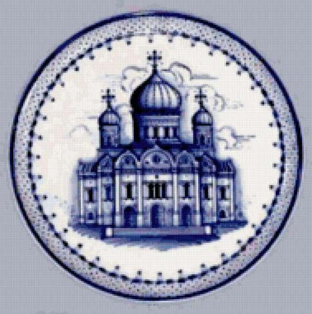 Храм, гжель, посуда, синее,