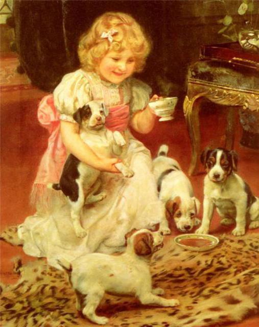 картина, портрет, собака,