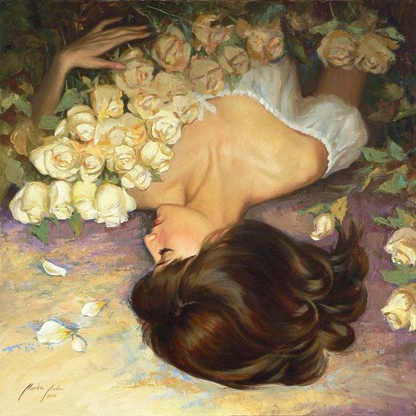 Белые розы, картина, портрет,
