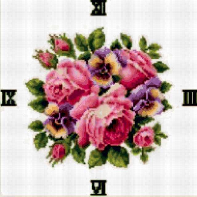 Часы-розы и анютины глазки,