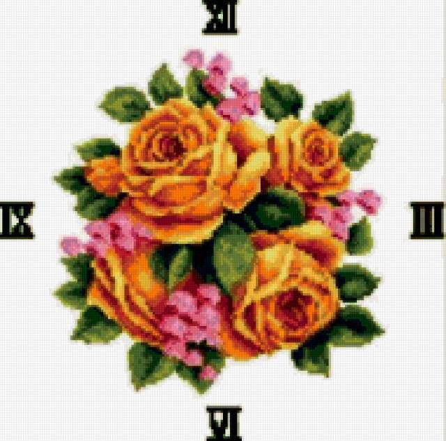 Часы букет роз, предпросмотр