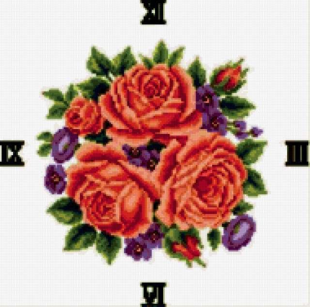 Часы с вышивкой из роз