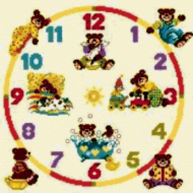 Детские часы, мишки, часы,