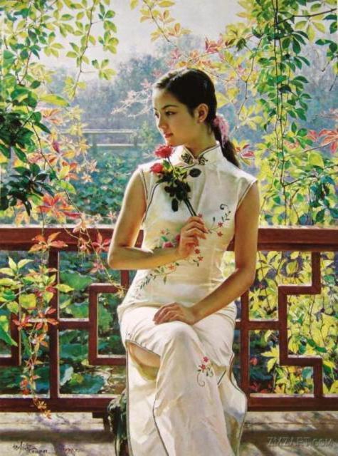 Китаянка, картина, портрет