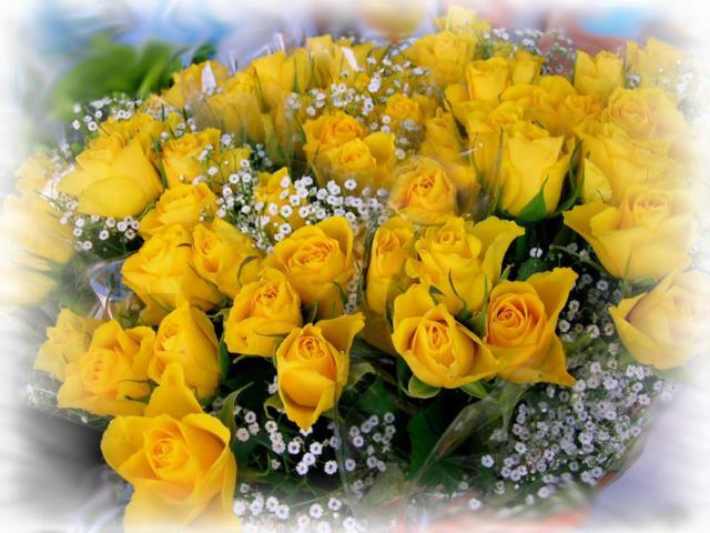 Букет желтых роз, цветы,