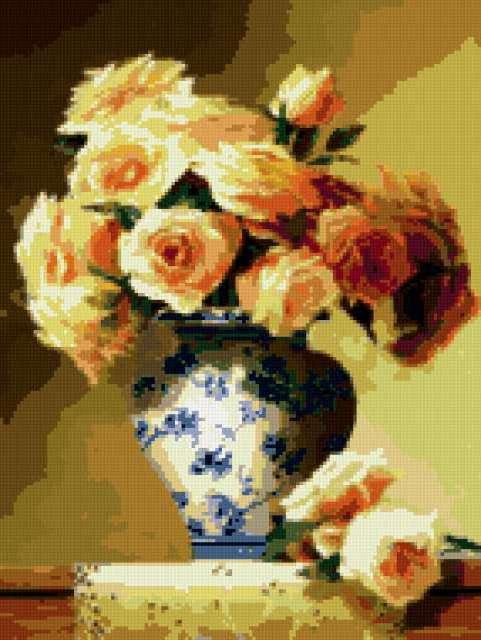 Чайные розы в вазе,