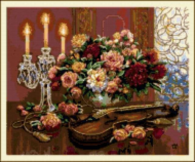 Свечи ,цветы, скрипка.