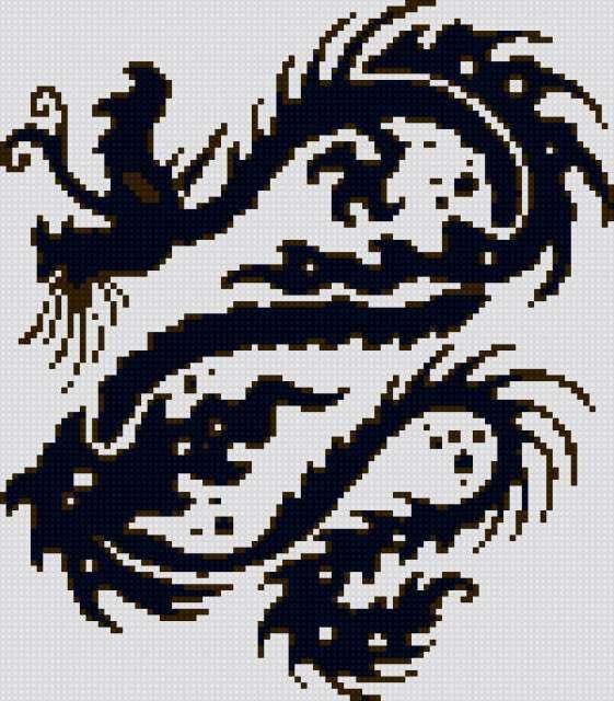 """Дракон """"3цвета=ч-б-серый""""100-,"""