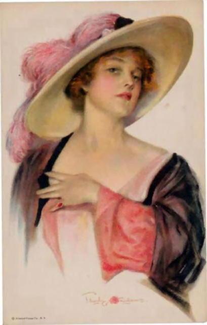Дама в шляпе, женщина, рисунок