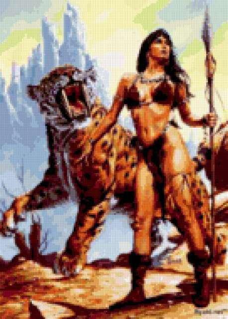Амазонка с тигром, девушка,