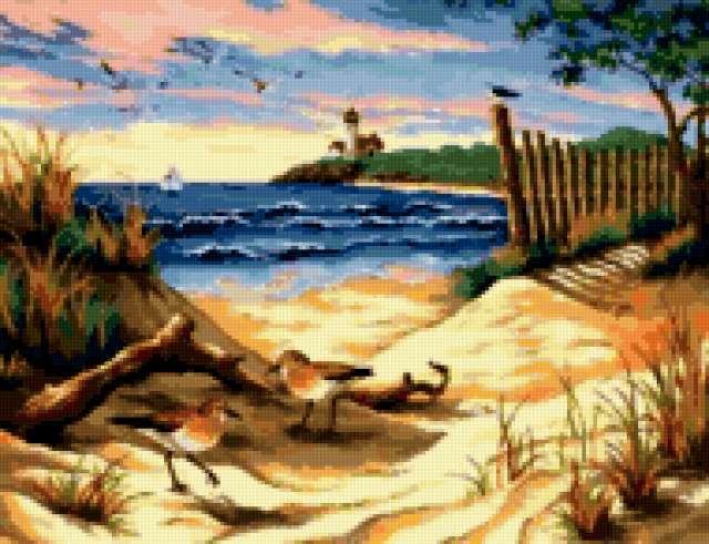 Чайки на берегу, предпросмотр