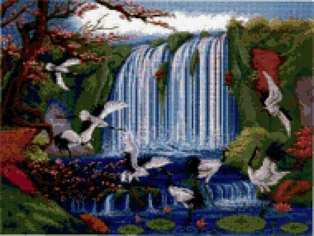 Журавли и водопад