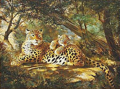 Леопарды, леопард, картина