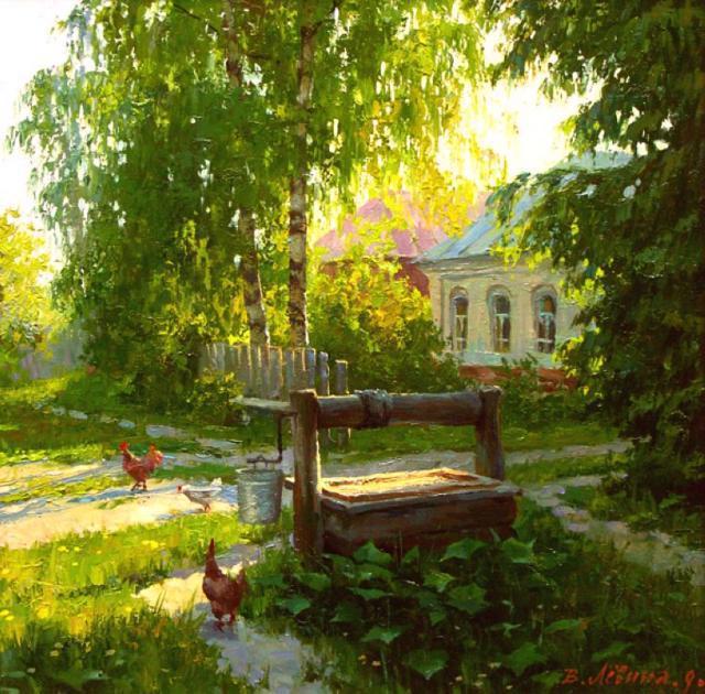 Деревенский пейзаж, картина