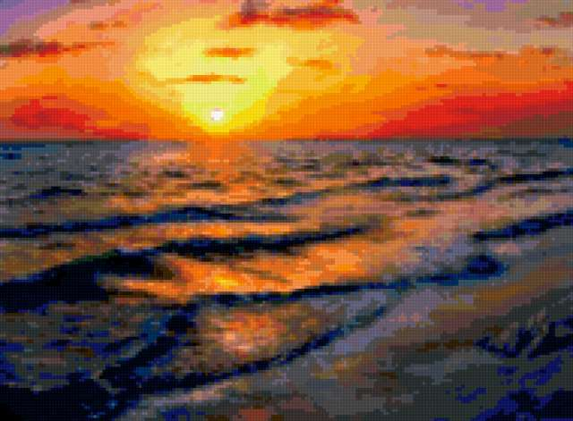 Вышивка на канве море