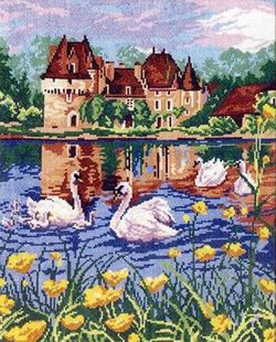 Белые лебеди, картина, пейзаж,