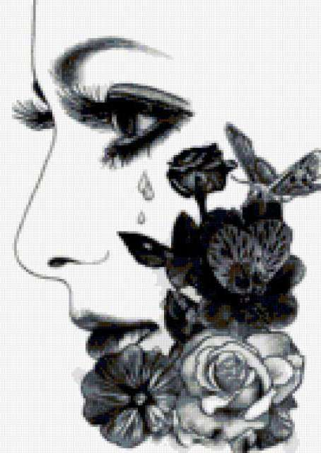 образ, лицо, цветы, слёзы,