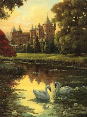 Лебеди, старый замок, оригинал