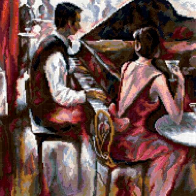 Пианист, картина, портрет
