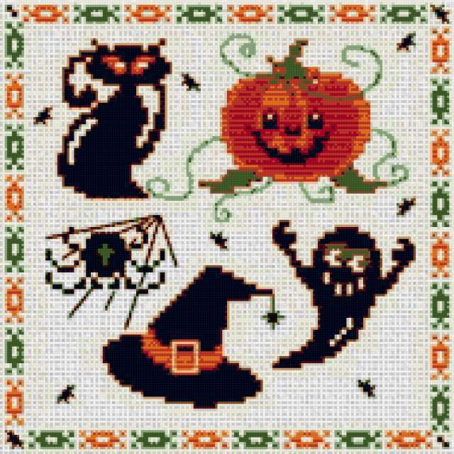 Мини вышивки для хэллоуина,