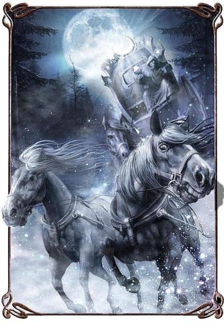 кони, луна, зима, снег