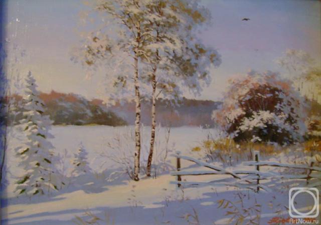 Зимнее утро, пейзаж, зима,