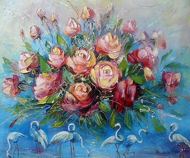 Букет роз и фламинго, букет,