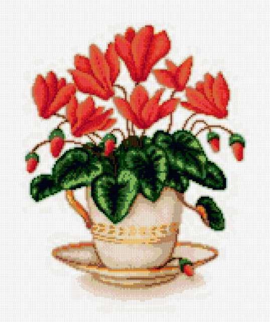Цветочек в чашке, предпросмотр