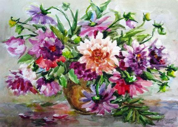 Георгины, живопись, искусство