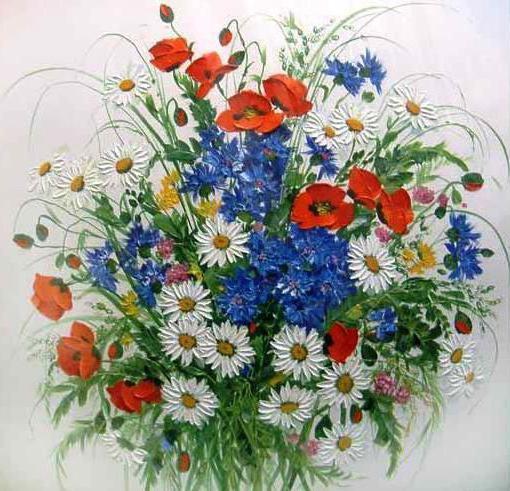 Полевые цветы, живопись