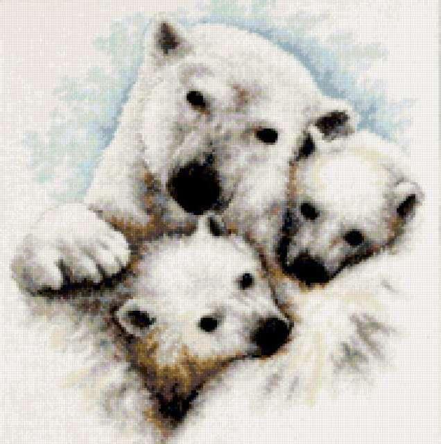 Подушка-белые медведи
