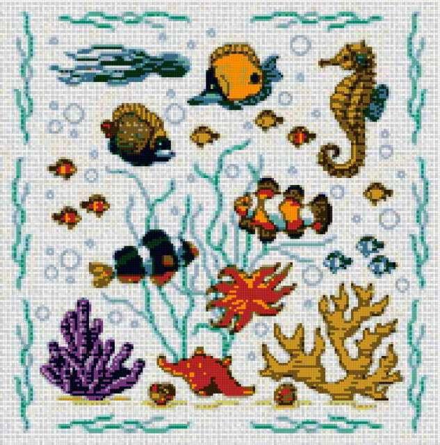 Морские жители, рыбки, морские