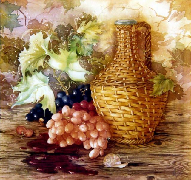 Натюрморт с виноградом-подушка