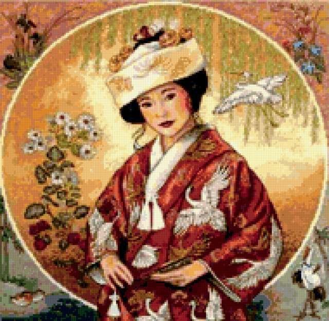 Японка, картина, портрет