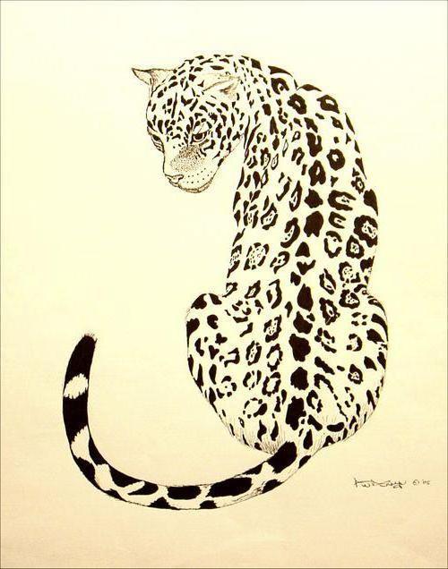 Ягуар, монохром, животные
