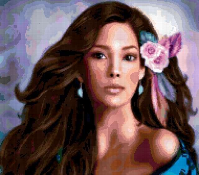 Девушка с цветами в волосах,