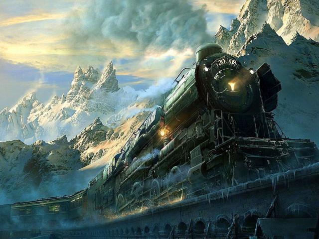 Поезд, поезд, горы, небо,
