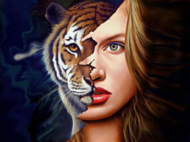 Девушка тигр 2 кошки фэнтази