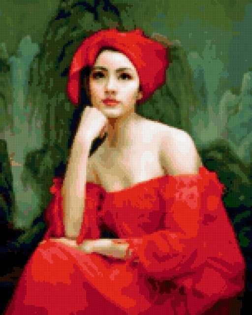 Китаянка в красном одеянии,