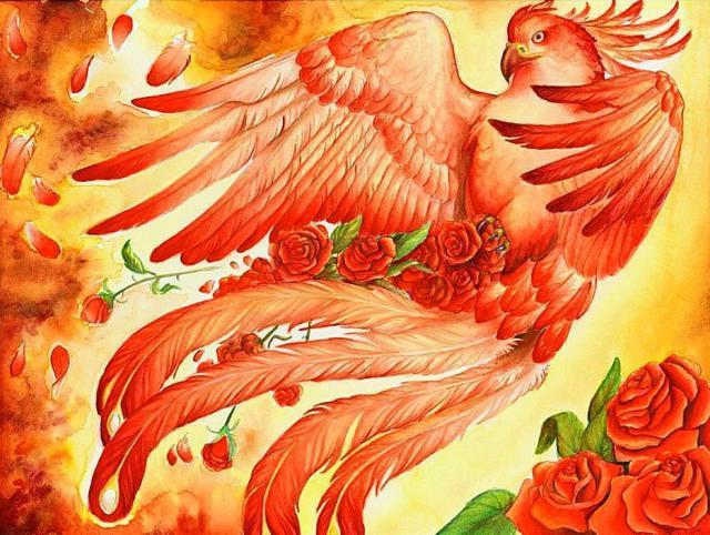 Феникс и розы, феникс, птица,