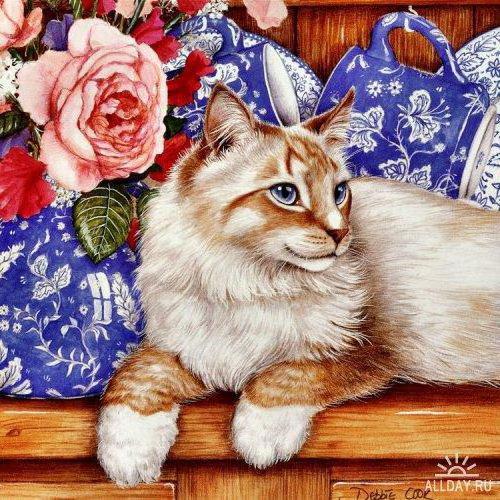 Кот и чайная роза, оригинал